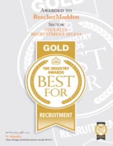 BeecherMadden were voted Gold at the BestFor Recruitment Awards